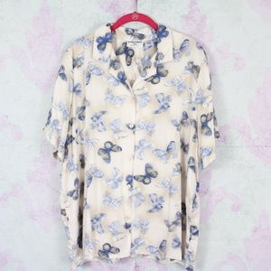 Alfred Dunner 18W Beige Blue Butterfly Blouse Top